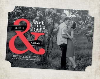 5x7 Custom Die Cut Save the Date Magnet in Black and White with a Pop of Coral Color