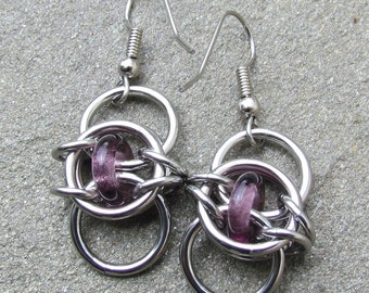 Purple Earrings, Chain Maille Earrings, Stainless Steel and Purple Glass Earrings, Dangle Earrings