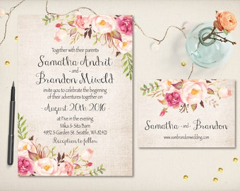 Wedding Invitation, Rustic Sweet Floral Boho Invitation, Modern Watercolor Flowers Invitation, DIY Printable, Cheap Invitation Prints (CW11)