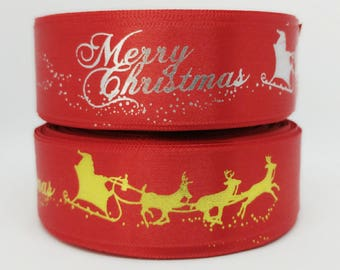 25Yards Red Christmas Single Faced Satin Ribbon - 25mm(1'')