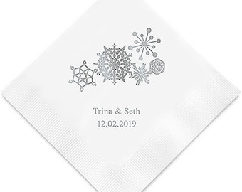 Snowflake Holiday Wedding Party Napkins Personalized (Pack of 100)