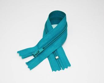 Turquoise zipper 20 cm, not separable