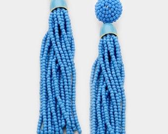 Beaded Tassel Earrings - Gold/Blue