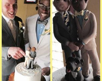 Grooms Wedding Cake Topper, same sex cake topper, 2 grooms cake topper, grooms wedding, CUSTOM cake topper, gay cake topper, gay man wedding