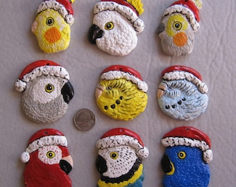 Parrots, Pet birds Santa ornaments, pull down menu selection, free personalizing by Nicole