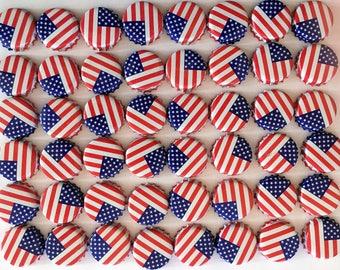 100 NO DENTS American Flag Bottle Caps, 100 No Dent Bottle Caps, 4th of July Craft, Fourth of July Bottle Caps, Bottle Caps, Craft Caps