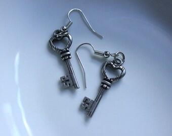 Silver Heart Skeleton Key Earrings