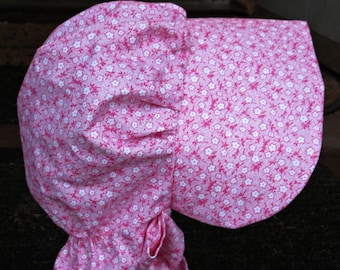 "Girls Pioneer bonnet..Raspberry calico/  Girls Prairie bonnet "" ready to ship"" PLEASE read details inside"