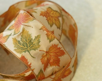 Thanksgiving Wire Edged Ribbon: Orange, Green and Gold Fall Leaves Ribbon, floral arrangements, decorating and gift wrapping, 3 yard length
