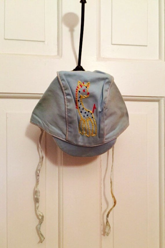 Blue Baby Vintage Sun Bonnet Baby Hat with Giraffe Gift for New Baby