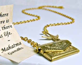 Personalised Necklace, Letter Necklace, Envelope Necklace, Envelope Locket, Secret Message, Love Letter, Bird Necklace, Gold Locket Necklace