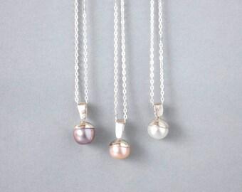 Handmade Sterling Silver Pearl Pendant, Freshwater Pearl Pendant