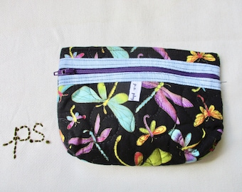 Quilted Colorful Dragonflies Pouch - Dragonflies Cell Phone or Camera Case