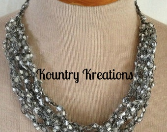 Ladder Yarn Necklace, Silver Crocheted Ribbon Necklace, Fiber Jewelry/MOONBEAM Ladder Necklace (Ready to Ship)