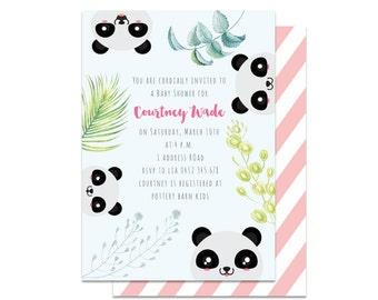 Panda Baby Shower Invitation. Baby Shower Invitation. Panda Shower Invitation. Gender Neutral Baby Shower Invitation. Panda Birthday Invite