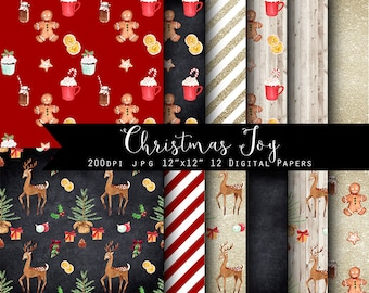 SALE Christmas Joy Digital Papers - Gold Glitter, Chalkboard, watercolor Christmas illustrations INSTANT DOWNLOAD