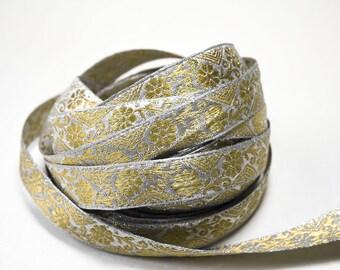 Silver Ribbon Ribbon Gold Pattern 1,9 cm x 1 m