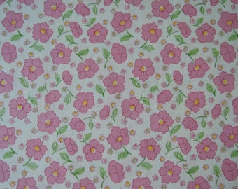 """Half Yard of 2015 Lecien Retro 30's Daisies and Dots Fabric in Pink. Approx. 18"""" x 44"""" Made in Japan"""