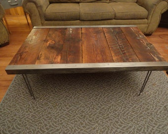 Authentic Custom built Industrial Coffee Table, Old Barn Wood, raw steel trim and hairpin legs, Reclaimed, Character, Authentic, Rustic