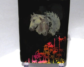 Dichroic Fused Glass Horse ACEO