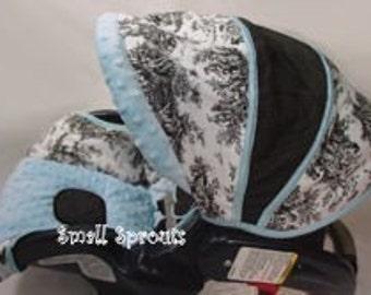 Custom Boutique Black Toile Blue Infant Car Seat Cover 5 piece set