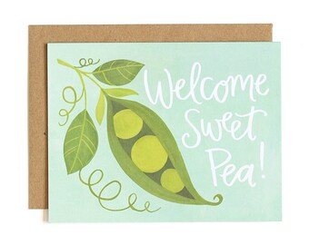 Welcome Sweet Pea! Illustrated Card // 1canoe2
