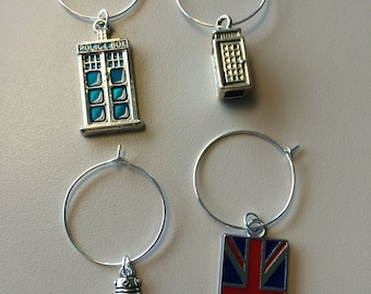 Set of 4 Doctor who themed wine charms