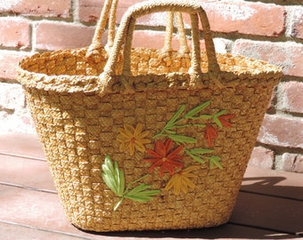 Mid Century Woven Beach Bag Large Straw Beach Tote Vintage Spring Summer Hand Bag