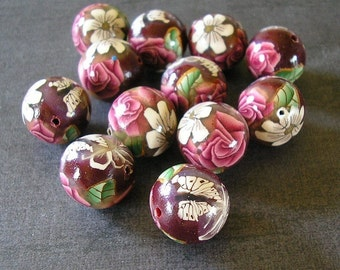Crimson Rose Beads, Polymer Clay Beads, Round Beads Dozen - Made to Order