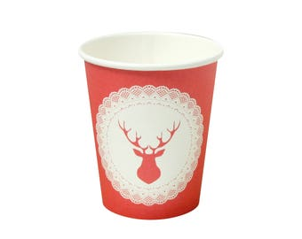 10 Christmas Paper Cups Christmas Partyware Holiday Paper Cups Christmas Tableware Favors Christmas Red Cups Holiday Cups Christmas Dinner