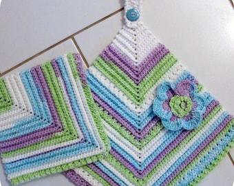 BEGINNER CROCHET PATTERN Scrubbie Towel Set Vintage Look Towel, Dishcloth, Scrubbie Kitchen Set (3 piece set)