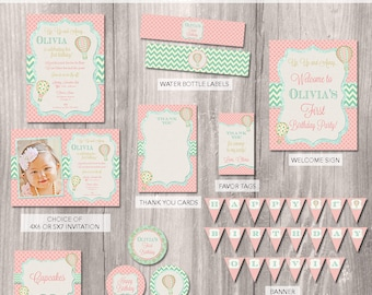 Hot air balloon Party Package, hot air balloon Birthday Invitation, Up Up and Away, Girls First Birthday Invitation, Printable Party Package
