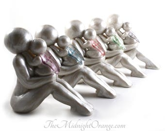 Mother and Baby Angel Child Loss Sympathy Gift handmade clay sculpture -family members able to be added - see photos- made to order