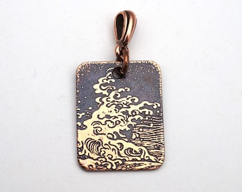 Copper ocean wave pendant, small flat rectangular etched metal jewelry, 25mm