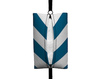 Auto Sneeze - Chevron - Visor Tissue Case/Cozy - Car Accessory Automobile Teal Blue and White zigzag Zig Zag