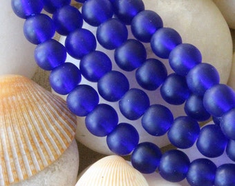 6mm Round Sea Glass Beads - Jewelry Making Supply - Frosted Glass Beads - Varied Amounts - Cobalt Seaglass