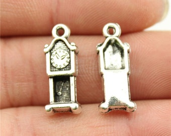 6 Grandfather Clock Charms, Antique Silver Tone (1J-154)
