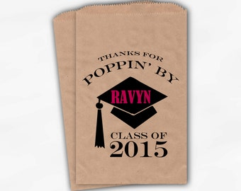 2018 Graduation Cap Personalized Popcorn Bags - Set of 25 Black and Hot Pink High School Grad Party Kraft Favor Bags Poppin By (0060)