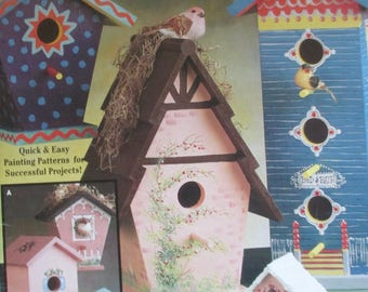 "Folk Art Tole painting ""  Bird houses. Painted Wood"" 1991 used booklet 20 pages"