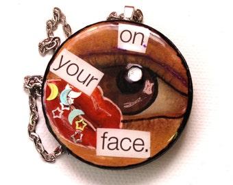 Mixed Media Necklace - Mixed Media Jewelry - Mixed Media Art - Red Lips - Wood Necklace - Resin Pendant - Pop Art - Rhinestone Jewelry  OOAK