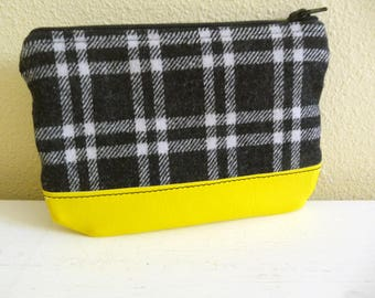 Small Zippered Pouch Black Plaid Wool Yellow Vinyl