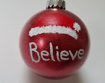 Red Glitter Believe Ornament - Glass Hand-painted Ornament - Holiday Decoration - Christmas Santa Hat
