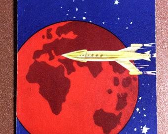 Rare Vintage USSR Russian Maxi match label 1960s SOVIET SPACE Program rocket flight to stars 1st spaceship Red Planet