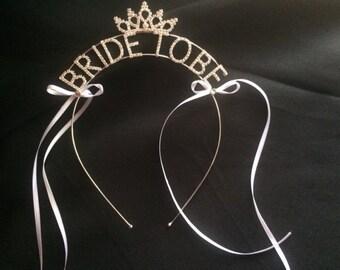 Mariée à diadème, jeune mariée pour être bandeau strass mariée à couronne, diadème de Bachelorette, couronne de Bachelorette, liens de ruban fait main