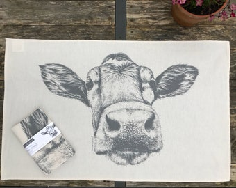 Guernsey cow natural cotton tea towel from original pencil drawing