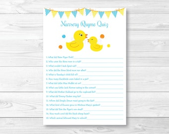 Cute Rubber Duck Nursery Rhyme Quiz / Rubber Duck Baby Shower / Rubber Duck Baby Shower Game / Printable INSTANT DOWNLOAD A276
