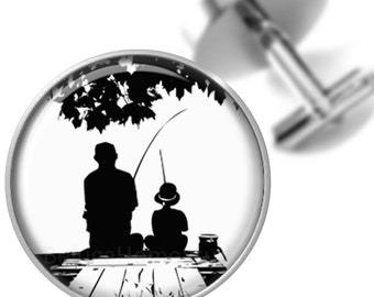 Cufflinks Fishing on the Dock with Dad Silhouette Handmade Cuff Links for Dads Fathers Men