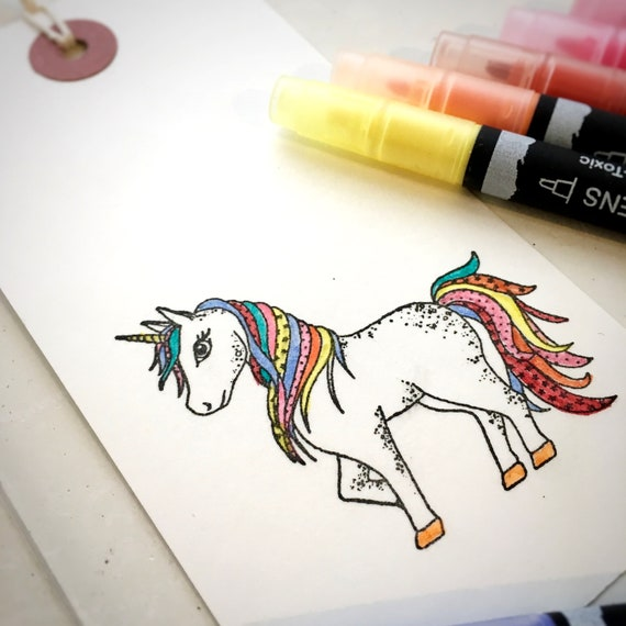 Unicorn Clear Rubber Stamp - Unicorn - Unicorn Stamp - Unicorn Colour Stamp - Unicorn Clear Stamp - Mystical Unicorn - Little Stamp Store