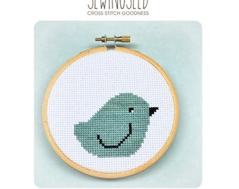 Aqua Bird Cross Stitch Pattern Instant Download