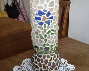 handmade mosaic sea glass vase